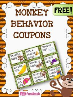 MONKEY Behavior Coupons Freebie, Ideas,