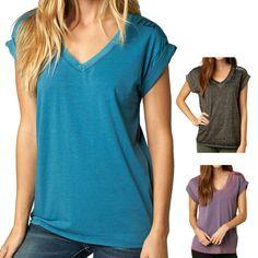 Fox Racing Constant Women's Ladies Casual V Neck Roll Sleeve Shirt Tee Top