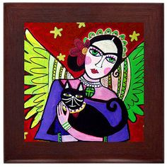 Frida Kahlo Angel with Cat Mexican Folk Art Ceramic Framed Tile by Heather Galler - Ready To Hang Tile Frame Gift
