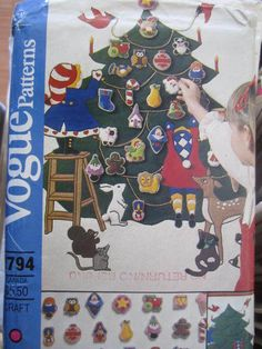 Items similar to Advent Calendar & Ornaments Pattern DIY Christmas Wall Hanging Christmas Crafts Christmas Decor Vogue 2794 Uncut Small Envelope on Etsy Retro Christmas, Felt Christmas, Christmas Crafts, Vintage Holiday, Xmas, Christmas Ornaments, Christmas Calendar, Advent Calendar, Christmas Wall Hangings