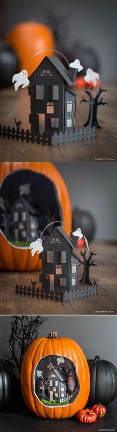 Paper Craft: Miniature Haunted Mansion for Halloween