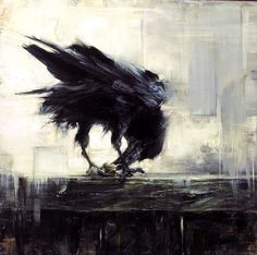 "Art by Lindsey Kustusch ""Backyard Raven"" (oil on panel)"