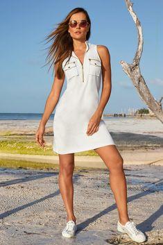 Racerback Chic Zip Dress Dress Outfits, Casual Dresses, Fashion Dresses, Unique Clothes For Women, Athleisure Fashion, Boston Proper, Colorblock Dress, Comfortable Fashion, Knit Dress