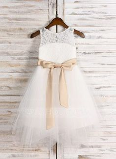 [NZ$ 73.75] A-Line/Princess Knee-length Flower Girl Dress - Satin/Tulle/Lace Sleeveless Scoop Neck With Sash/Bow(s)/Back Hole (010091711)