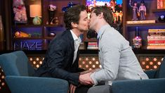 The Broadway co-stars played a game that forced them to come get very close.