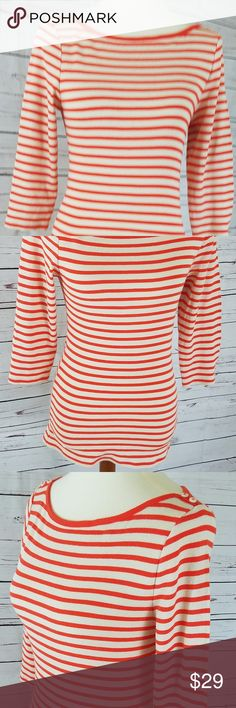 Old Navy Striped Orange Sweater Old Navy Striped Orange Sweater Sz M 3/4 length sleeve buttons on shoulders 60% cotton 40% polyester Old Navy Sweaters