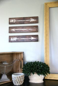 Easy DIY wall art.  Rustic Painted Arrows.