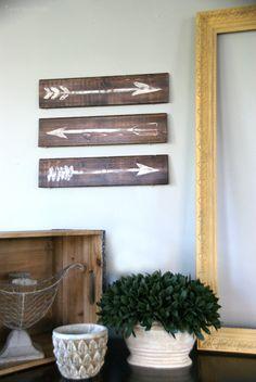 Easy DIY wall art.  Rustic Painted Arrows.