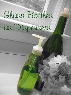 Did you know that the screw-on plastic dispenser tops from store-bought soaps, shampoos, and lotions will often fit on glass bottles? Finding the right bottle may require a bit of experimentation, but once you find a bottle the right size, you can create a unique, eco-friendly DIY soap or lotion dispenser in seconds! THINK OF THE GIFT IDEAS YOU COULD TURN THESE INTO!