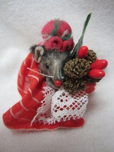 "Vintage Original Fur Toys Germany Miniature Christmas Mouse 2"" Little Mouse Fact | eBay"