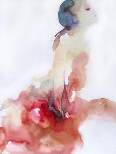 Robe rouge (Painting), 32x24 cm par Sylvia Baldeva 24 x 32 cm aquarelle sur papier Canson Moulin du Roy ...love all her art!