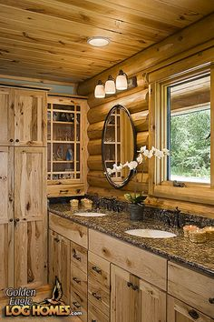 Interior, vertical, master bathroom, Minnesota, Golden Eagle Log Homes Log Cabin Bathrooms, Cabin Kitchens, Rustic Bathrooms, Log House Kitchen, Log Cabin Living, Log Cabin Homes, Log Cabins, Rustic Cabins, Log Home Interiors