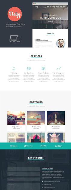 Flatfy - Responsive Resume / CV. Bootstrap Themes. $10.00