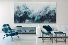 painting Large Abstract Painting- hidden treasures III -Original seascape Painting blue art Elena Unstretched