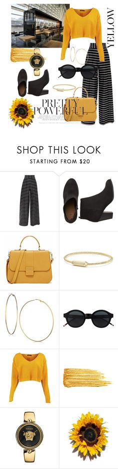 """•Fashion Editor Design•"" by zarmira ❤ liked on Polyvore featuring David Yurman, GUESS, Boohoo, Yves Saint Laurent, Versace, gold, yellow, black and powerful"