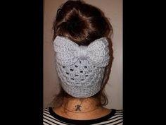 Crochet BOW for messy bun beanie Crochet Bows, Chunky Crochet, Crochet Beanie, Free Crochet, Slouch Beanie, Crochet Videos, Crochet Projects, Messy Bun, Crochet Patterns
