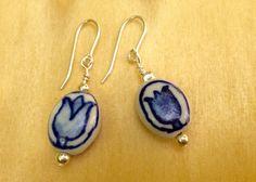 Blue Delft Tulip Handpainted Earrings Ceramic Earrings Blue Willow Earrings Netgerlands Jewelry Holand
