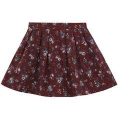 Retro Floral Print Woolen Skirt