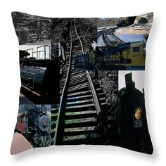 Trains Collage Throw Pillow by Cathy Anderson