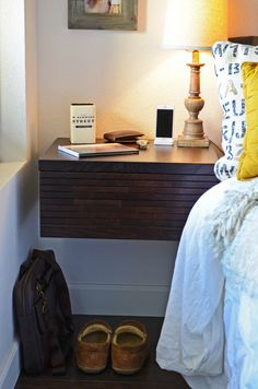 Floating Wall Mounted Night Stand Drawer Minimalist Hanging Nightstand - Mayan…