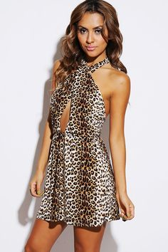 #1015store.com #fashion #style leopard animal print cut out wrap front halter backless A line party mini dress-$15.00