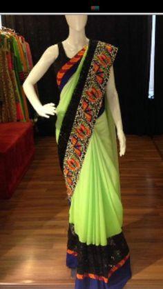 #saree #neon Pakistani Outfits, Indian Outfits, Pakistani Clothing, Indian Attire, Indian Ethnic Wear, Indian Sarees, Silk Sarees, Saris, Coral Saree