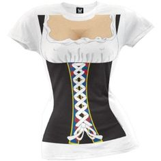Take a trip back to Medieval times with this white, cotton juniors t-shirt, featuring a busty beer wench costume print. A fun, sexy tee that saves you that trouble of that nasty corset. Oktoberfest Costume, Thing 1, T Shirt Costumes, Large White, Branded T Shirts, Fashion Brands, Fashion Outfits, Clothes For Women, My Style