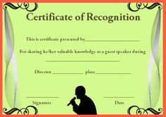 Certificate of academic recognition template certificate of certificateof recognition template for guest speaker yelopaper Image collections