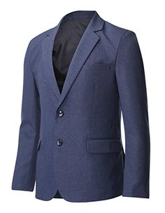FLATSEVEN Mens Single Breasted Two Button Blazer Business Jacket with Notched Lapel (BJ231) Blue, Boys L FLATSEVEN #mens fashion #mens blazer #menswear #Blazer #mens clothing #clothes #denim