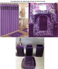 19 Piece Bath Accessory Set Purple Zebra Bathroom Rugs & Shower Curtain & Accessories Design of this Zebra Print Bathroom, Zebra Print Rug, Bathroom Rug Sets, Bathroom Accessories Sets, Bathroom Design Small, Curtain Accessories, Bathroom Designs, Bathroom Stuff
