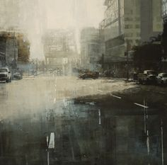 Jeremy Mann. In his creative practice, Mann aims to imbue his city, San Francisco, with drama, mood, and personality. A number of his compositions are inspired by wet pavement that reflects street lamps and neon signs and glitters in the rain.  Painting on medium-to-large scale wood panels, Mann utilizes a number of techniques: staining the surface, wiping away paint with solvents, and applying broad, gritty marks with an ink brayer.