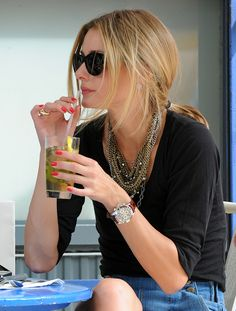 School Outfit: Olivia Palermo   NOTE: The necklaces look great against the black vneck!  The bottom of this outfit has endless possiblites depending on the circumstance...Can you say $ saver?