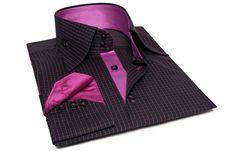 Black Shirt with Fuschia Checks and Urban Collar,  Dress Shirts for Men at French-Shirts.com