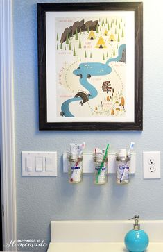 Individual glass containers for toothbrushes mounted..