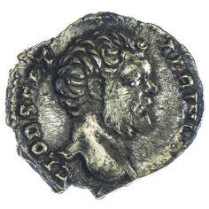 Clodius Albinus 196 - 197, Av: D CLOD SEPT ALBIN CAES, barhäuptiger Kopf nach rechts, Rv: COS III, Aeskulap steht nach links, an seinen Schlangenstab gestützt, Silber