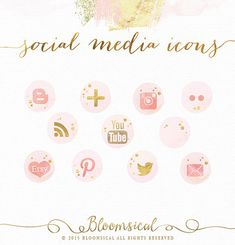 Social Media Icons Glam Watercolor Gold Foil by Bloomsical