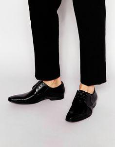 Derby-Schuhe von Dune Lackleder Innenfutter aus echtem Leder Schnürung spitze Zehenpartie mit geeignetem Pflegemittel behandeln Obermaterial: 100% echtes Leder