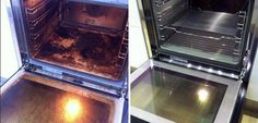 Clean your oven using a baking soda paste, leave it sit for 12 hours, wipe off, then follow up by spraying with vinegar on any remaining spots.