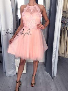 Krátke spoločenské šaty Mirabela - svetloružové C2516 3410803985f