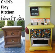 Nightstand made into play kitchen stove.
