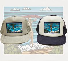 d0e42795a4090 Surf Stroll Patch Trucker Hat by Heather Brown www.HeatherBrownArt.com Heather  Brown Art
