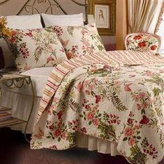 Full / Queen size Piece 100% Cotton Quilt Set Crimson Clover Floral