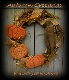 Primitive Autumn Wreath with Pumpkins and Crow