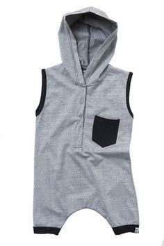 hooded romper - marl grey