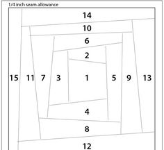 """Here's another easy paper-piecing pattern. This is a paper-pieced variation of a paper-pieced """"Log cabin"""" - I'm calling it """"strippy"""" because..."""
