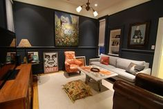 """""""A super-dark shade, like Benjamin Moore's """"Hale Navy,"""" sets off artwork amazingly."""" // 10 Navy Rooms To Inspire You To Pick Up The Paintbrush (PHOTOS)"""