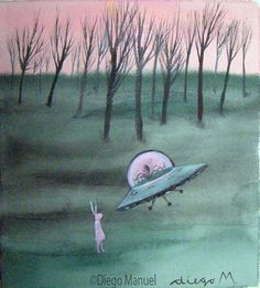 Conejo y plato volador. Painting of the Serie Pop Surrealism for sale by artist…
