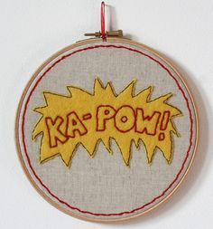 KAPOW Hand Embroidered Hoop Art 7 inch by DeadHipsters on Etsy, £20.00