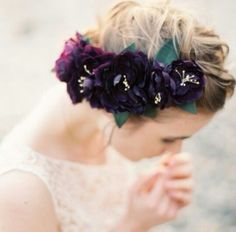 Burgandy flower head piece