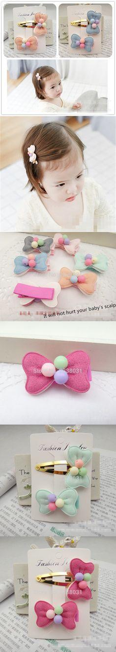 Lovely Korean Hair accessories Three lovely Beads Bow Hairpin Candy Colors Bow Kid headdress Baby Headband Scrunchy -C $1.58